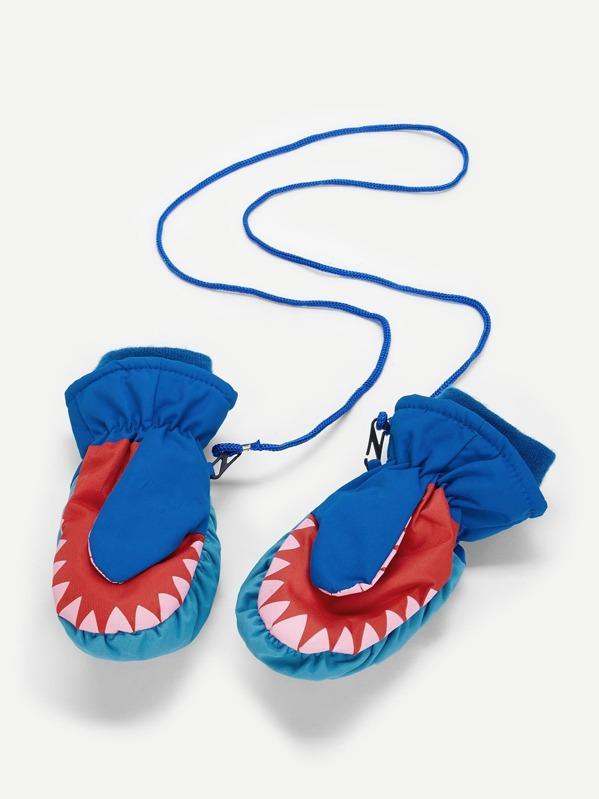 Manoplas de niños con patrón de tiburón de dibujos animados con ...