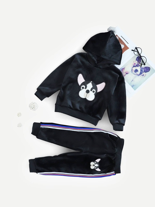 Toddler Boys Dog Embroidered Velvet Hoodie & Pants