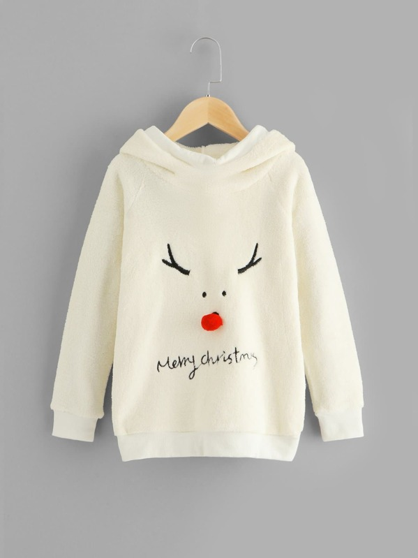 Toddler Girls Christmas & Letter Embroidered Hoodie, Beige