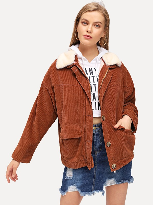 Faux Fur Trim Corduroy Jacket Shein Sheinside
