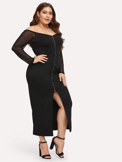 1d496e358d8b9 Siyah Kontrast Mesh Sade Gündelik Artı Beden Elbiseler