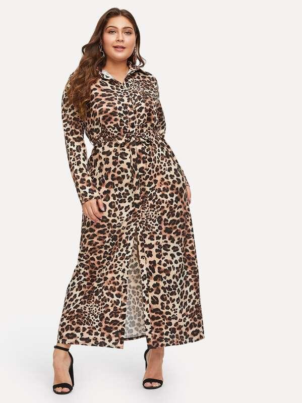 0cdd5938fb7 Plus Leopard Print Longline Shirt Dress -SheIn(Sheinside)