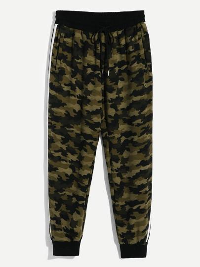 Homme Pantalon imprimé camouflage avec ceinture 16bc880e333a