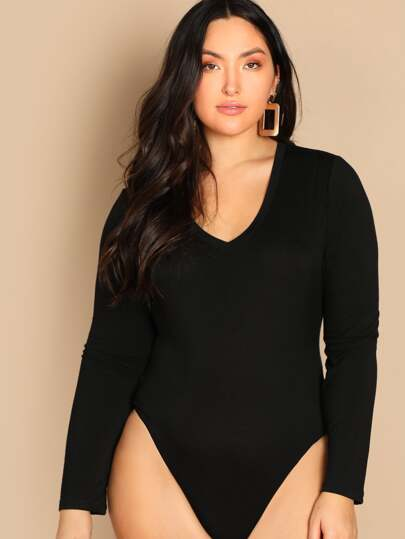 15adcb24e26 Plus Slim Fitted Solid Bodysuit