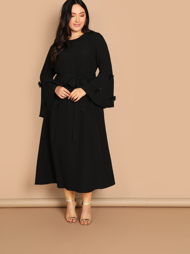 71c12d762c Plus Flounce Sleeve Solid Dress | SHEIN IN