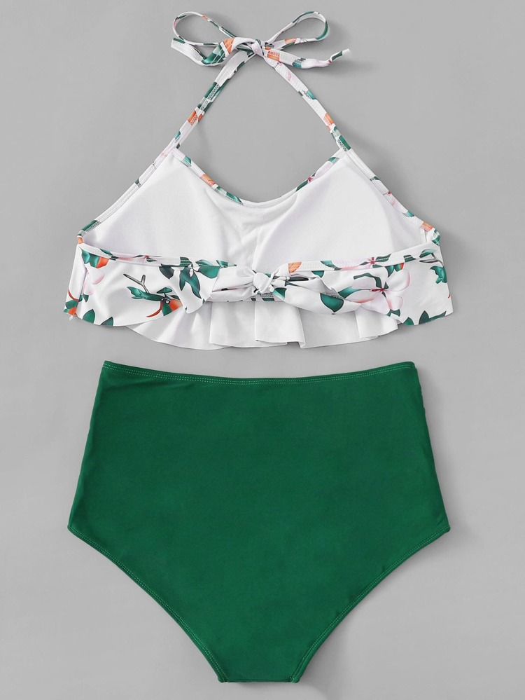 63a219c703 Calico Flounce Halter Top With Ruched Bikini | SHEIN