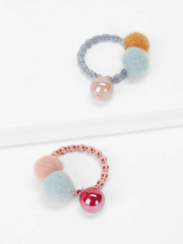 Girls Pom-Pom & Bead Decorated Hair Tie 2pcs