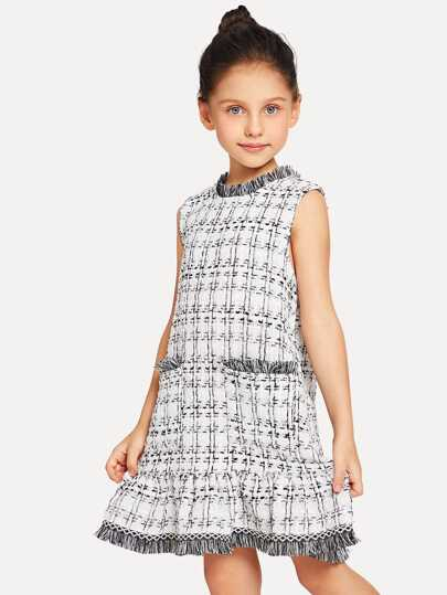 Girls Frayed Edge Tweed Ruffle Hem Dress