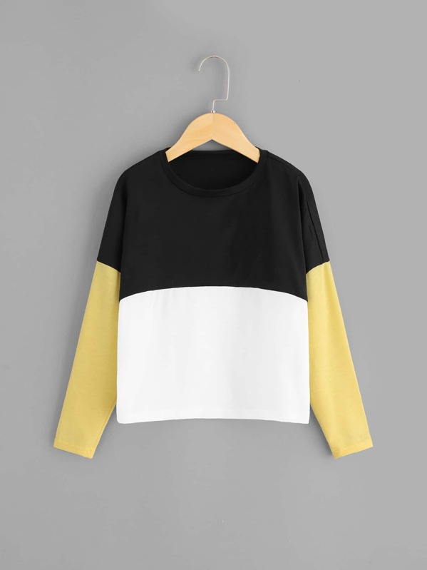 Girls Color-Block Round Neck Tee