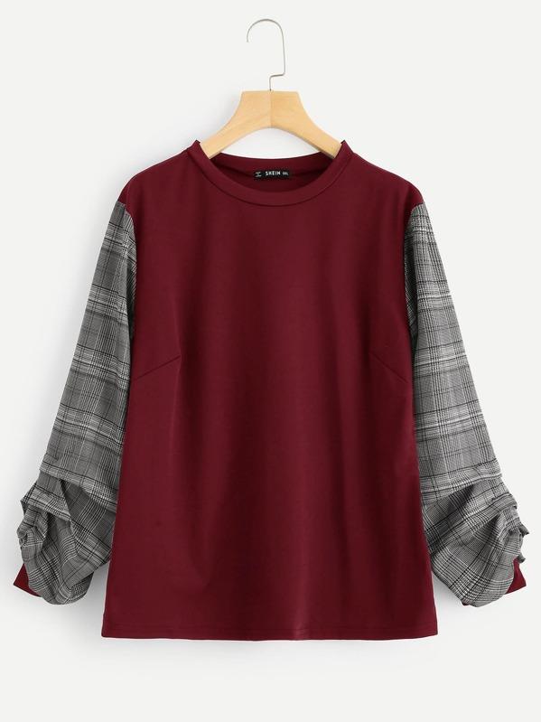 Plus Plaid Gathered Sleeve T-shirt -SheIn(Sheinside) c2e108667af0b
