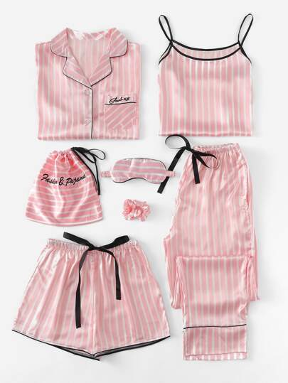 10c3ae4fc2 Plus 7Pcs Letter Embroidered Striped Satin PJ Set