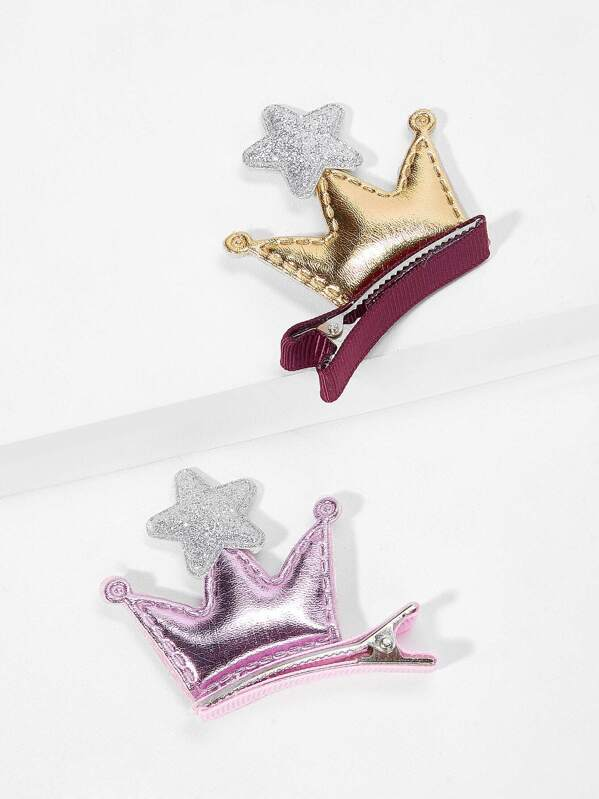 Girls Crown & Star Decorated Hair Clip 2pcs
