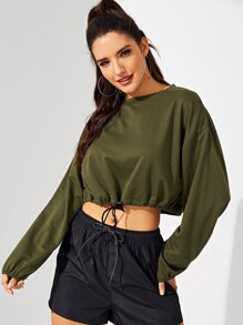 ae404a6891613 Waist Drawstring Solid Lantern Sleeve Pullover