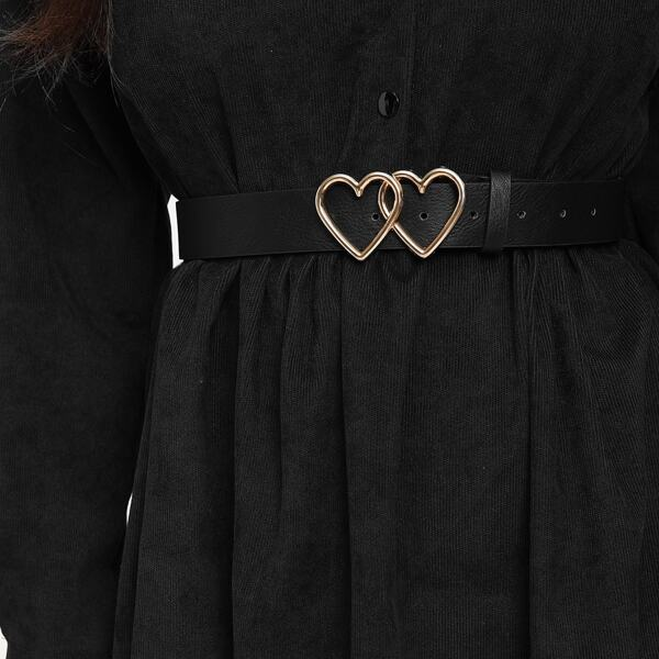 Double Heart Shaped Metal Buckle Belt, Black