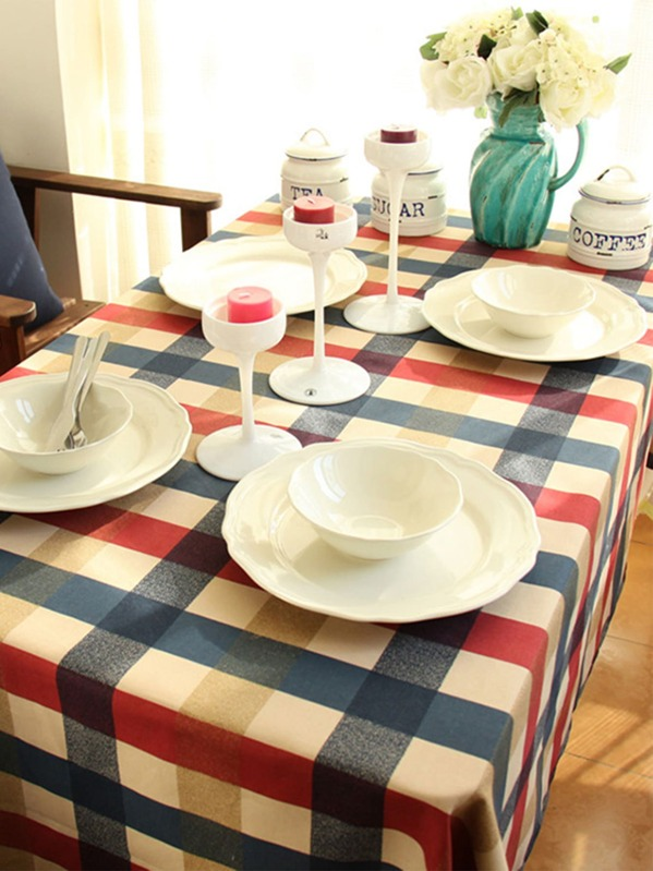 Plaid Pattern Print Tablecloth