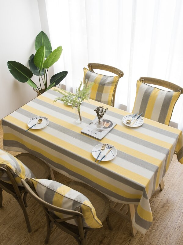 Contrast Striped Pattern Print Tablecloth