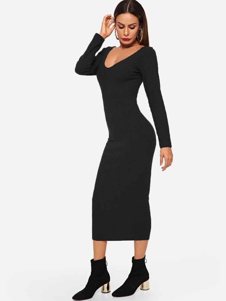 45173e2e91 Ribbed Solid Skinny Sweater Dress