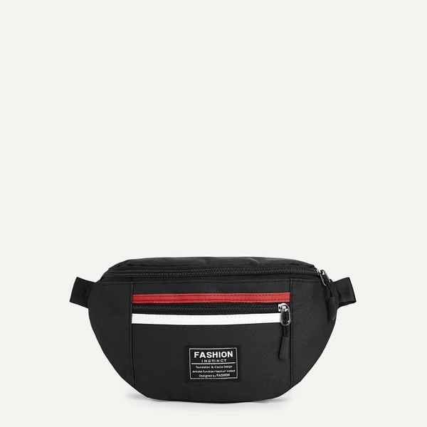 Men Striped Detail Bum Bag, Black