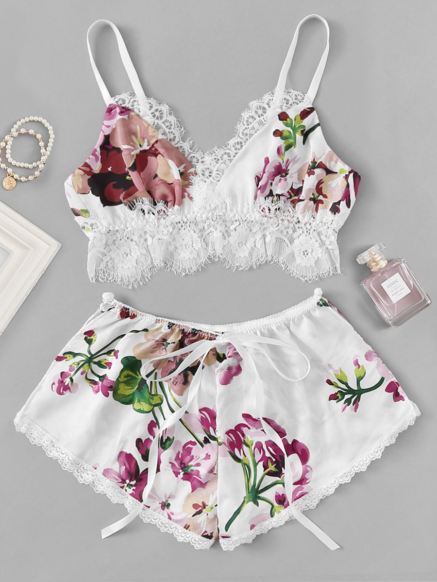 ddd87bef0e What more can you ask for than a floral contrast lace lingerie set, and  made of satin? This US$10.00 is available in other colors as well.