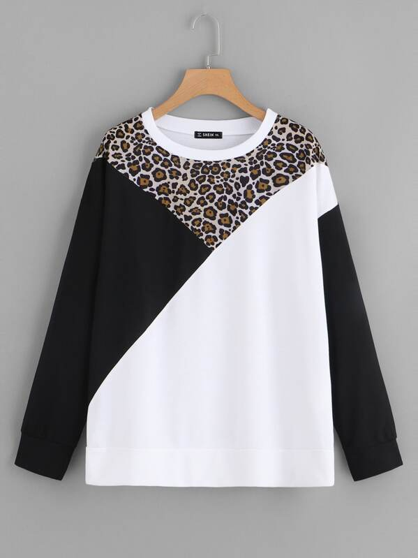 Plus Leopard Panel Cut-and-Sew Pullover