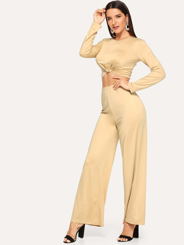 a96c88b2fe1 Cheap Solid Twist Hem Crop Top and Palazzo Pants Set for sale ...