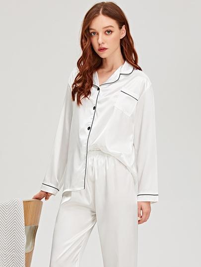9af346554f5 Contrast Binding Satin Pajama Set