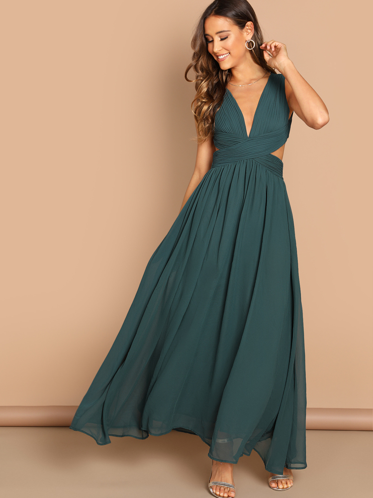 ccee9a31e40 Open Back Ruched Top Flowy Prom Dress