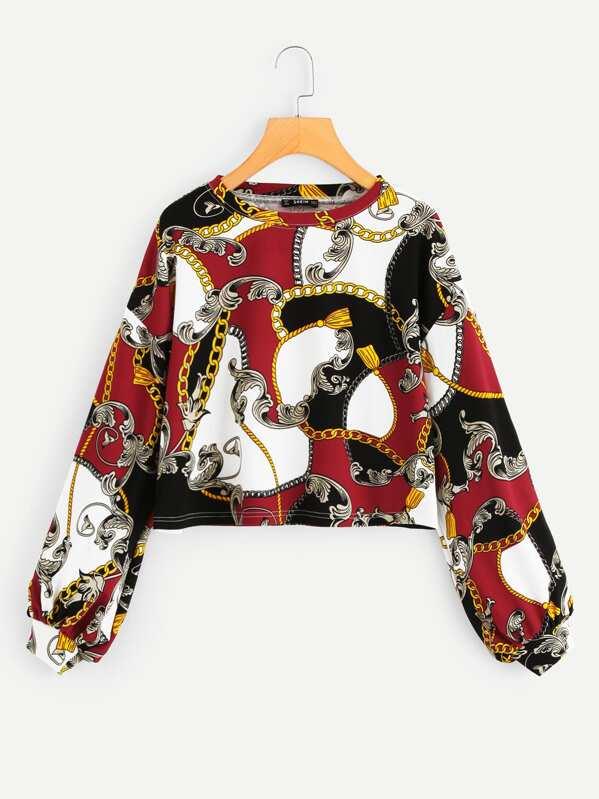 Round Neck Scarf Print Pullover -SheIn(Sheinside) 154d7b7eb1fa0