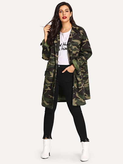 f63ddfb0164 Camo Drawstring Waist Drop Shoulder Denim Outerwear