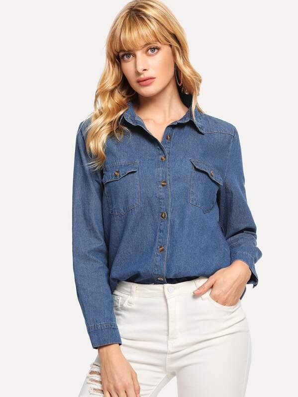 9fae8bd7fcd Stitch Detail Pocket Front Denim Shirt -SHEIN(SHEINSIDE)