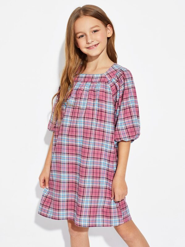 Girls Raglan Lantern Sleeve Glen Plaid Dress