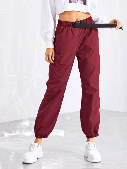 29936fbb6162f Pocket Patched Buckle Drawstring Waist Pants
