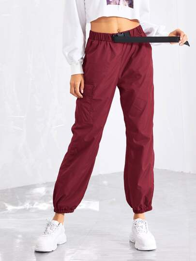 3766a71e570 Pocket Patched Buckle Drawstring Waist Pants
