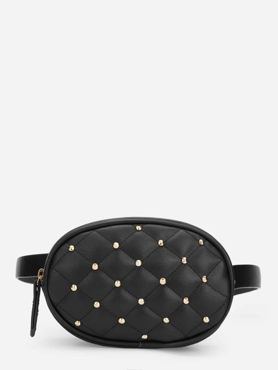 Studded Detail Quilted Bum Bag