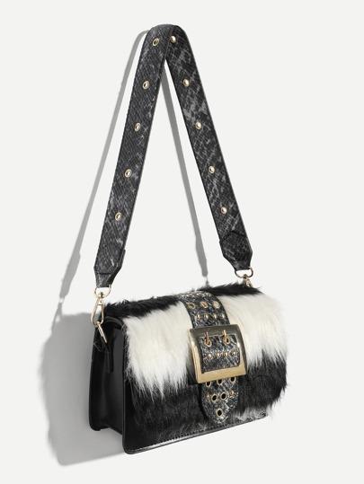 983ddabd9a8a Studded Detail Faux Fur Satchel Bag