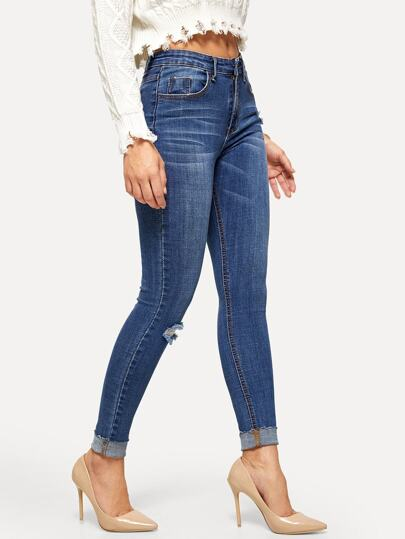 aa2924bb9f674 Rolled Knee Rips Jeggings