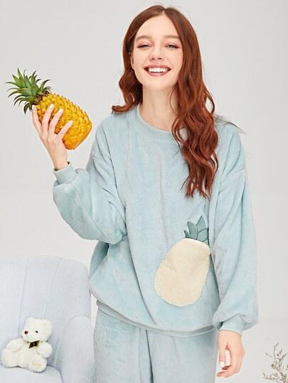 657adfed63 Pineapple Embroidered Plush Pajama Set