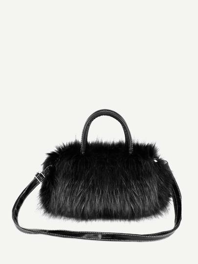 c59f5b298462 Faux Fur Decor Satchel Bag