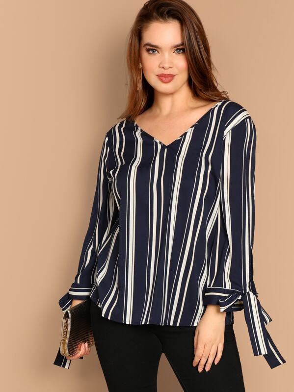 Plus Cut Out Back Knot Cuff Striped Blouse
