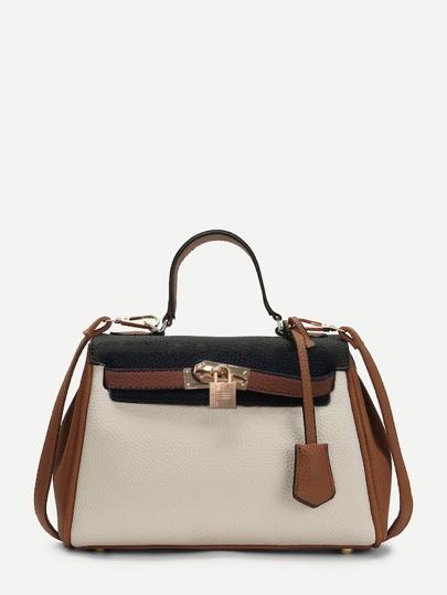 Piping Detail Color Block PU Shoulder Bag