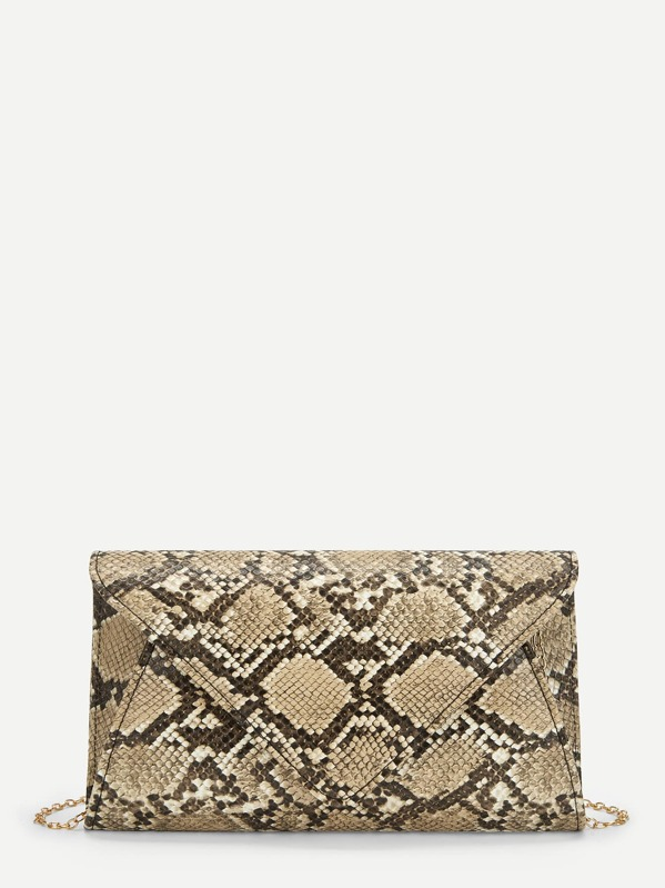 2ad9dd7c60 Snakeskin Pattern Chain Clutch Bag -SheIn(Sheinside)