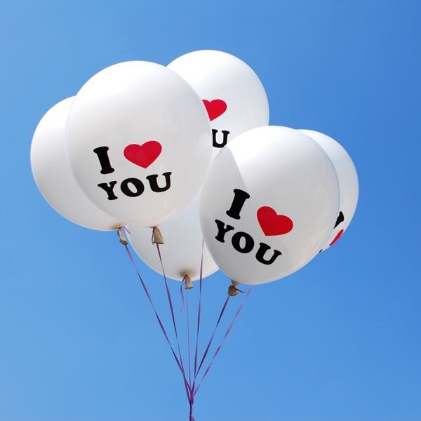 I Love You Balloons 10pcs, White