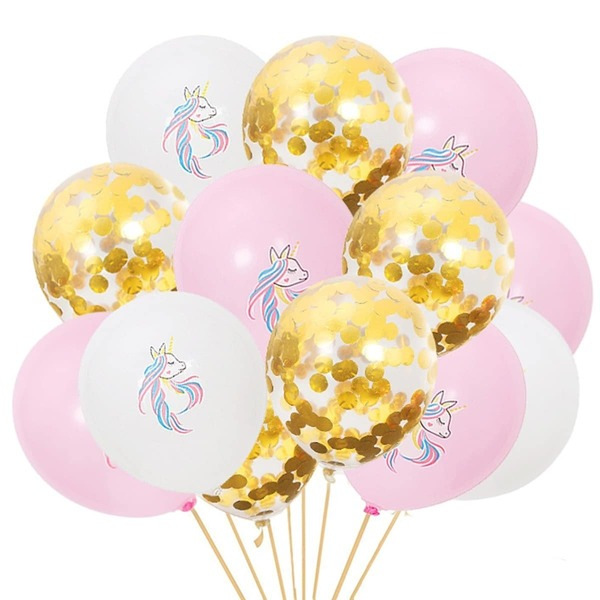 Random Color Unicorn & Sequin Balloon 15pcs, Multicolor