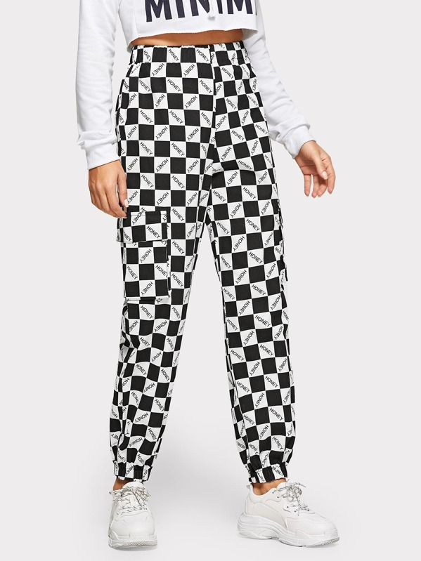 Checkerboard Letter Print Pants