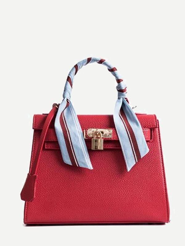 Metal Lock Design PU Bag With Scarf Green