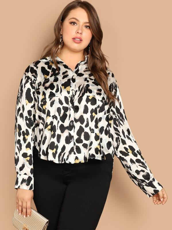 6e9ae5220b3 Plus Pocket Patched Leopard Print Shirt -SheIn(Sheinside)