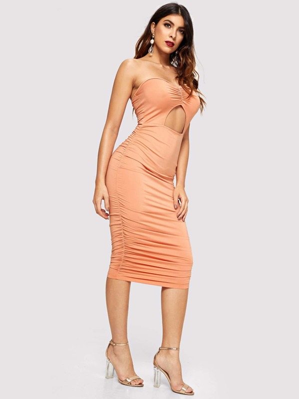 d8494d3c48 Open Front Ruched Bodycon Tube Dress -SheIn(Sheinside)