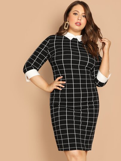 Plus Contrast Collar and Cuff Grid Dress 691a9fce8a94