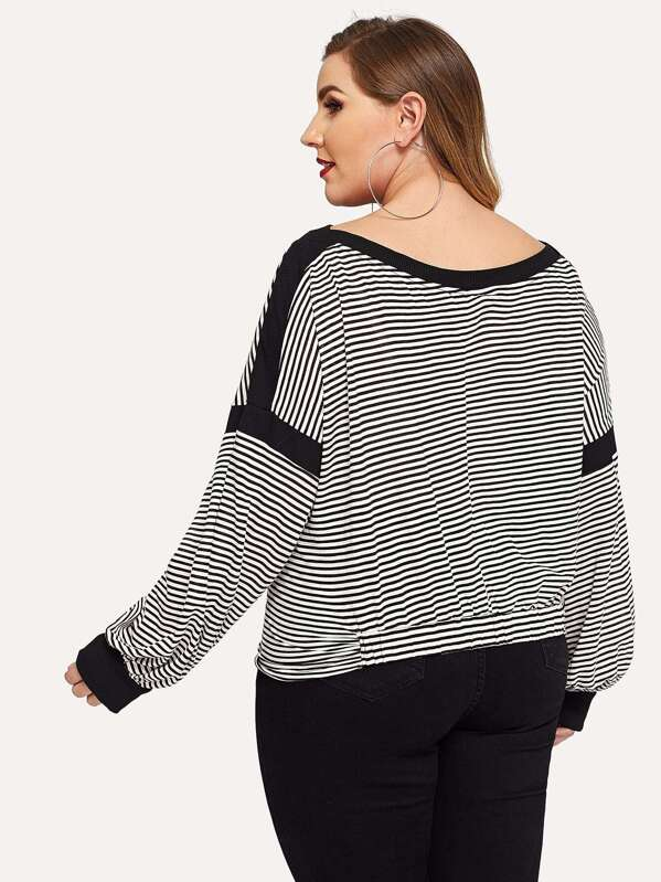 8eee83ff46db9 Plus Twist Front Striped Pullover -SHEIN(SHEINSIDE)