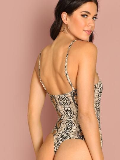 5951aa0f94 Snake Skin Print Cami Bodysuit